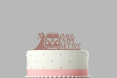 Mr & Mrs Campervan Personalised Rose Gold Mirror Acrylic Wedding Cake Topper.734