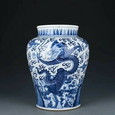 14'' collection chinese blue and white porcelain beast dragon design jar vase