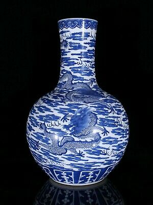 18'' collection chinese blue and white porcelain cloud dragon design jar vase