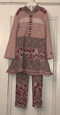 NAARTJIE Girls Pink Floral Hooded Tunic & Leggings Outfit Sz 5 Med Apr 14' Line