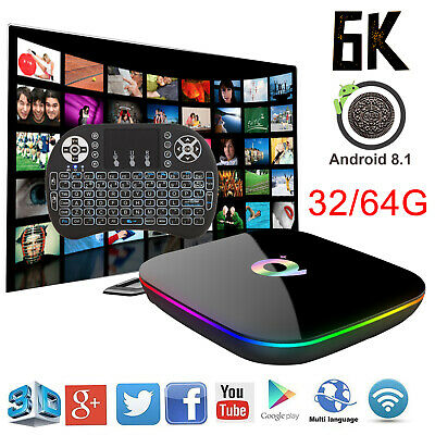 2019 6K 3D 32/64G Q Plus TV Box Android 9.0 Quad Core WIFI HDMI With Keyboard i8