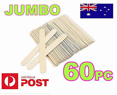 60x JUMBO CRAFT STICKS Natural Wooden  Paddle Pop Popsicle Sticks 14.5 x 1.9 cm