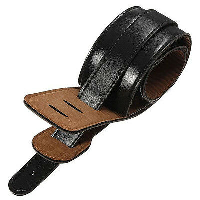 Adjustable Black Soft Leather Thick Strap for Electric Acoustic Guitar Bass