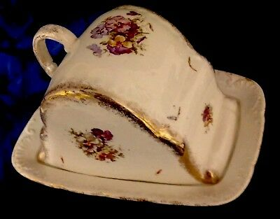 Antique German Cheese  Keeper Dish Porcelain Dome Lid Pansy Flowers Gold Trim