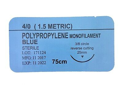 12 x PRACTISE SUTURES Polypropylene Blue Monofilament 4-0 (Non-Absorbable)