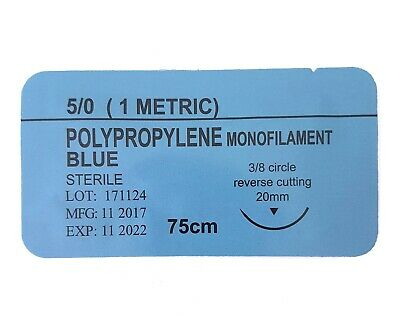 12 x PRACTISE SUTURES Polypropylene Blue Monofilament 5-0 (Non-Absorbable)