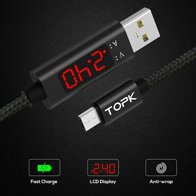 2019 TOPK Nylon Braid Voltage&Current Display 3A(Max) Fast Charging&Date Cable