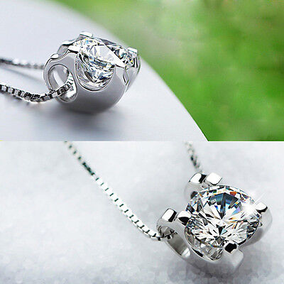 925 Silver Plated Necklace Clavicle Chain Rhinestone Pendant Jewelry Gift Women
