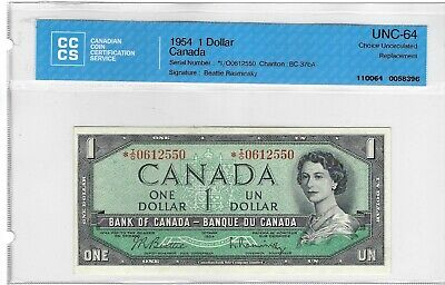 1954 BC-37bA Bank of Canada Replacement *I/O $1.00 CH UNC 64