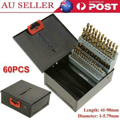 #1 To #60 Hardened 60pc HSS Numbered Twist Drill Bit Set With Metal Index Box