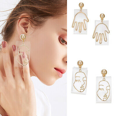 Holylove Fashion Earrings Faces Hands Women Jewelry Pierced Dangle Gold Alloy