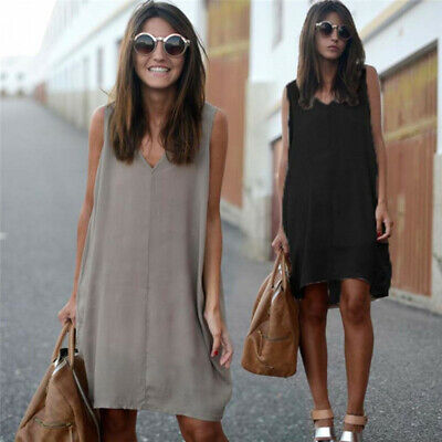 Ladies Sleeveless Casual Pure Color Dress Girls Summer Stylish V-neck Dress AT