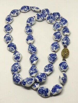 """Vintage Hand Painted Chinese Porcelain Beaded 24"""" Necklace w/ Silver Fancy Clasp"""