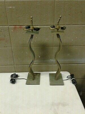 "Pair Iron and Brass Art Deco Table Lamp 23"" Tall 5x7 Base (dd) (d41)"