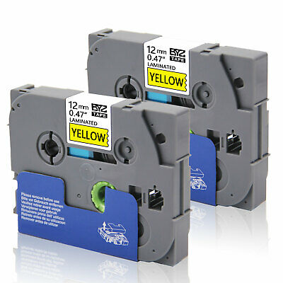 """2PK Label Tape TZe631 12mm 0.47"""" Black/Yellow Compatible Brother p-touch PT-D400"""