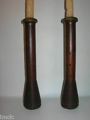 free Shipping~Antique Primitive Folk Art~WOODEN CANDLE HOLDERS~Bee's Wax Candles