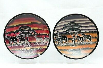 Pair of Hand Carved African Themed Fruit Serving Bowl Pasta Bowl Decore 12''W