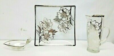 Sterling Silver Overlay Tulip Flower Depression Glass Pitcher & Swan Bowl & Tray
