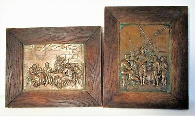Mission Arts & Crafts Copper Plaques Framed Ca1900 Italy Vesuvius Volcano Scene