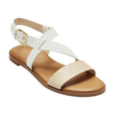 eb1713729c544b NEW COLE HAAN Womens FINDRA STRAPPY SANDAL II White Leather Flat Sandals  W12458 -  108.78