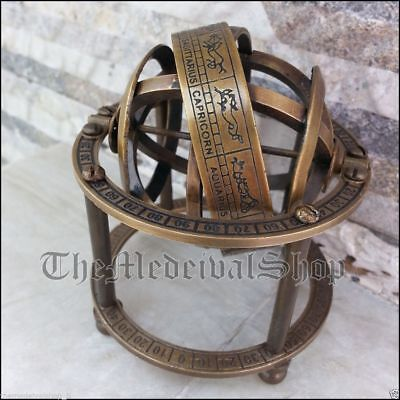 Antique Style Solid Brass Armillary Sphere Tabletop Astrolabe Vintage Globe Gift