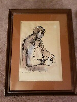 Vintage Original Drawing Painting Framed Art Signed by Artist 1964