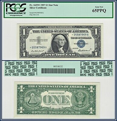 1957 Star $1 Silver Certificate One Dollar PCGS Currency 65 PPQ Gem New Unc Note