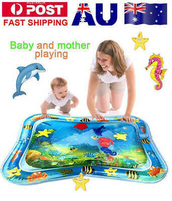 AU Baby Water Play Mat Inflatable For Infants Toddlers Fun Tummy Time Sea World