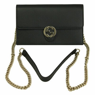 276a5a566bd92b GUCCI PADLOCK CONTINENTAL Wallet With Chain Black NEW - $925.00 ...