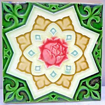 Vintage Tile Saji Japan Majolica Ceramic Porcelain Collectibles Art Nouveau Rare