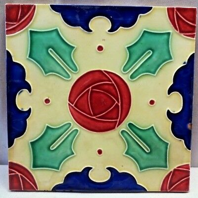 Tile Vintage Japan Dk Geometric Design Ceramic Majolica Art Nouveau Decorati#371