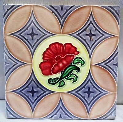 Tile Majolica Japan Vintage Red Flower Design M S Tile Works Art Nouveau # 272