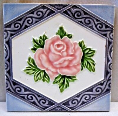 Tile Vintage Rose Pink Japan Ceramic Majolica Art Nouveau M S Tile Works  # 369