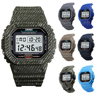 Men Compass Watch Countdown LED Digital Wrist Watches Outdoor Military 7 Colors