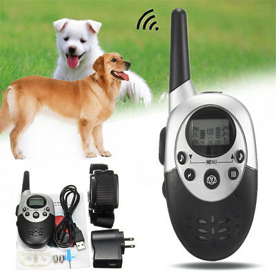 1100Yard Electric Dog Shock Training Collar Waterproof Rechargeable LCD