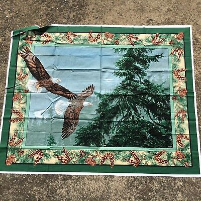"""WILD FLYING EAGLES """"Forest Green"""" Beautiful Large Quilting Panel Sewing Fabric"""