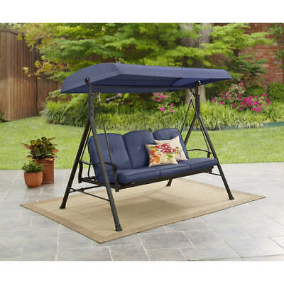 Miraculous Mainstays Belden Park 3 Person Canopy Porch Swing Bed Blue Pdpeps Interior Chair Design Pdpepsorg