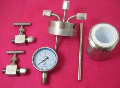 25ml 6Mpa Hydrothermal synthesis Autoclave Reactor vessel+inlet outlet gauge-New