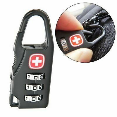 Alloy 3 Dial Safe Number Code Padlock Combination Travel Suitcase Luggage Lock Q