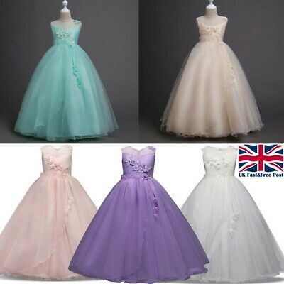 Flower Kid Princess Tulle Layers Wedding Bridesmaid Girls Formal Long Maxi Dress