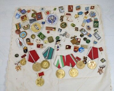 Vintage Collectible Huge Collection of USSR Olympic 80s & Other Pins Pin Ribbons