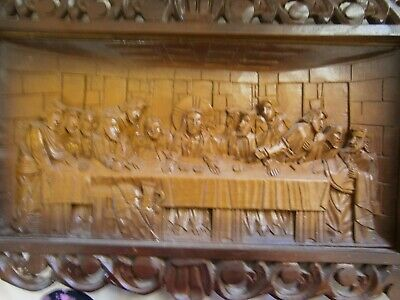 "Vintage Carved Timber "" The Last Supper "" - Vgc"
