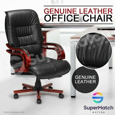 Genuine Leather Executive Office Chair High Back Computer Chair Armrests Wheels