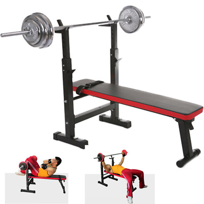 Adjustable Folding Weight Lifting Flat Bench Press Rack Fitness Exercise Body US