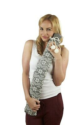 Warmies Extra Long Hot Water Bottle Grey Nordic Knit Cover 80cm PVC Quick & Easy