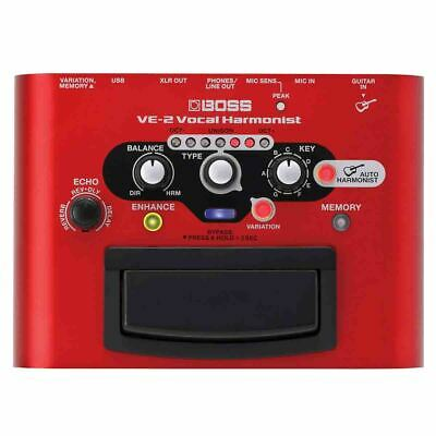 Boss VE-2 Battery-Powered Portable Vocal Processor with 24 Harmonies - Red