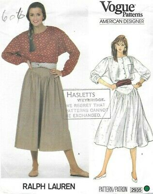 Vogue Sewing Pattern 2935 by Ralph Lauren, Blouse and Flared Skirt, Size 12 New