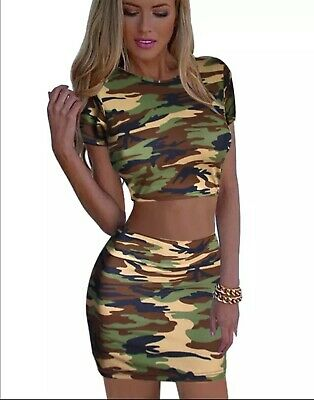 Women's set green army short shirt and skirt lady mini top pencil girl casuals