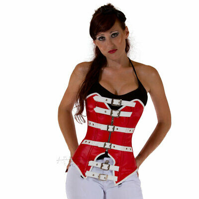 Genuine / Real Nappa Leather & Steel Spiral Bones Corset Half Bust Red & White