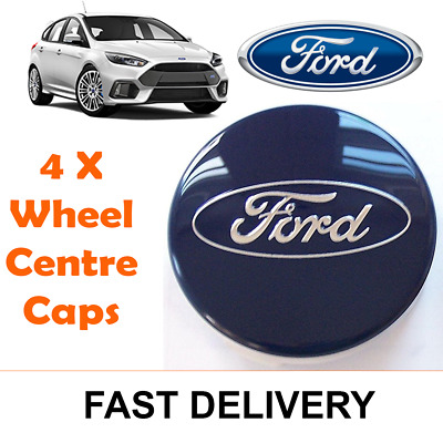 4x BLUE FORD FITS MOST NEW MODELS 54MM ALLOY WHEEL CENTRE CAPS FOCUS FIESTA